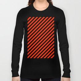 Bright Red and Black Diagonal RTL Stripes Long Sleeve T-shirt
