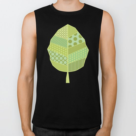 The Unique One (Green Patterned Leaf Patchwork) Biker Tank