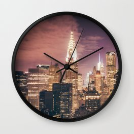 New York City - Chrysler Building Lights Wall Clock