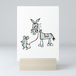 I Don't Give A Rats Ass Mouse Walking Donkey T-Shirt Mini Art Print