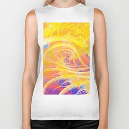 Colorful Abstract Waves Biker Tank