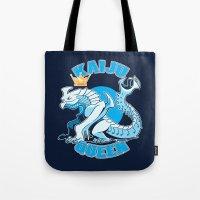 kaiju Tote Bags featuring kaiju queen by Amanda Lien