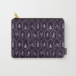 Pearl Yoga Asanas pattern on amethyst Carry-All Pouch