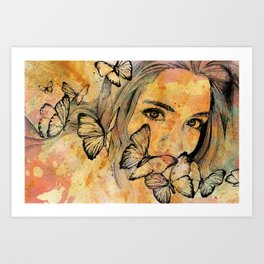 Remain Sedate (butterfly girl street art portrait) Art Print
