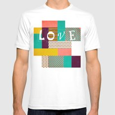 Geometric Love Mens Fitted Tee MEDIUM White