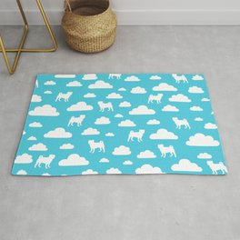 Pug Clouds (white and blue) Rug