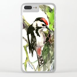 Dawny Woodpecker Clear iPhone Case