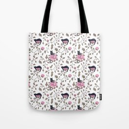 Black cats and paeony flowers Tote Bag