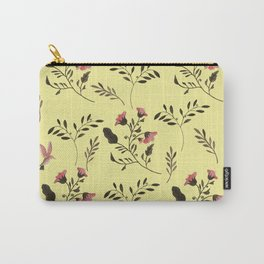 Rose Hummingbirds and Pink Flowers in Butter Yellow Floral Pattern with Pink Flowers and Bark Brown Carry-All Pouch