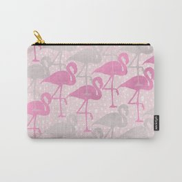 flamingos in pink and gray Carry-All Pouch