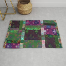 Lotus flower green and maroon stitched patchwork - woodblock print style pattern Rug