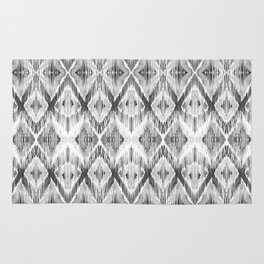 Black and White Watercolour Ikat Pattern Rug