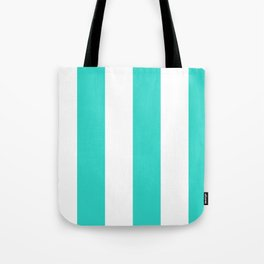 Wide Vertical Stripes - White and Turquoise Tote Bag
