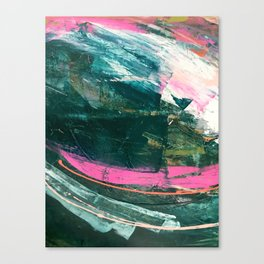 Meditate [3]: a vibrant, colorful abstract piece in bright green, teal, pink, orange, and white Canvas Print