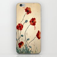 poppies iPhone & iPod Skins featuring Poppies by Megan Hunter