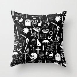 Buffy Symbology, White Throw Pillow