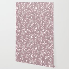 Modern mauve pink white hand painted floral Wallpaper