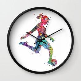 Girl Soccer Player Watercolor Sports Art Wall Clock