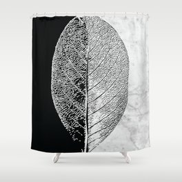 Natural Outlines - Leaf Black & White Marble #284 Shower Curtain