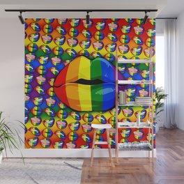 LGBTQ Rainbow Lips Kiss Wall Mural