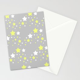 Yellow White Stars on Grey Gray Stationery Cards