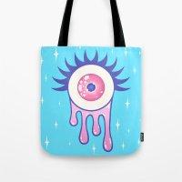 murakami Tote Bags featuring EYE DRIP by Stephanie Son