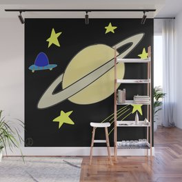 Planet in Space with Stars and a UFO Drawing Wall Mural