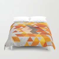 crossfit Duvet Covers featuring Geometric Penguin by Joel M Young