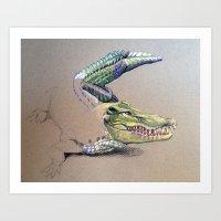 crocodile Art Prints featuring Crocodile by Jeanne Hollington