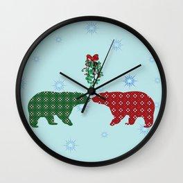 Mistletoe Polar Bears Wall Clock