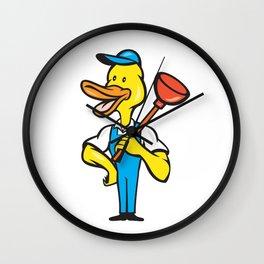 Duck Plumber Plunger Standing Cartoon Wall Clock
