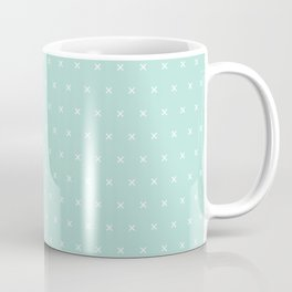 Aqua blue and White cross sign pattern Coffee Mug