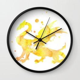 Yellow Dragon Watercolor Painting Wall Clock