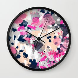 Nico - Abstract painting in modern fresh colors navy, mint, pink, cream, white, and gold Wall Clock