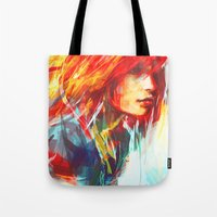 colorful Tote Bags featuring Airplanes by Alice X. Zhang