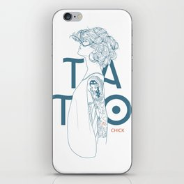 TATTOO CHICK WHITE iPhone Skin
