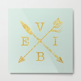 VIBE - Feather Arrow Cross - GOLD Metal Print