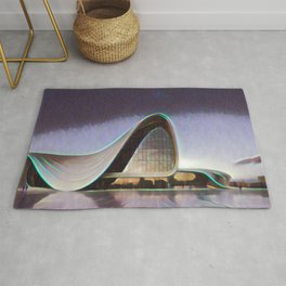Azerbaijan Heydar Aliyev Center Artistic Illustration Lens Flare Style Rug