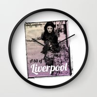 liverpool Wall Clocks featuring LIVERPOOL by TOO MANY GRAPHIX