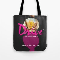 video game Tote Bags featuring Drive Video Game by Simon Alenius