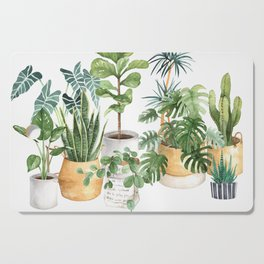 Watercolor house plants potted plants Cutting Board