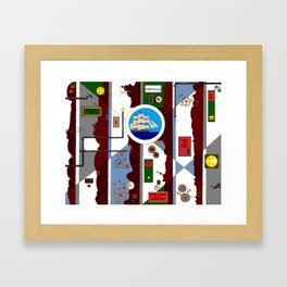 A Steampunk Nautical Wall with Gears and Cogs Framed Art Print