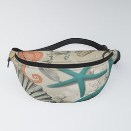 french botanical art seahorse teal green starfish Fanny Pack