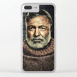 Ernest Hemingway Clear iPhone Case