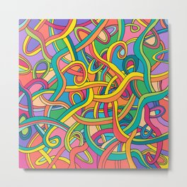 Curved lines color 2 Metal Print