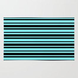 Electric Blue and Black Horizontal Var Size Stripes Rug