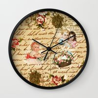 shabby chic Wall Clocks featuring Shabby Chic by Diego Tirigall