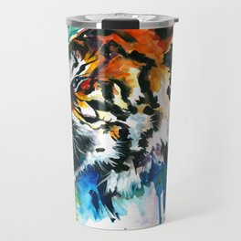 Orange Mad Tiger Watercolor Travel Mug