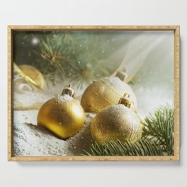 Gold Christmas Ornaments in Snow with Garland & Warm Glory Light Serving Tray