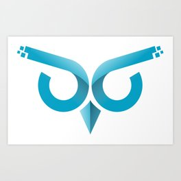 Minimal Tech Owl logo Art Print